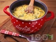 Рецепта Ризото с обикновен ориз, телешко месо, шафран, моркови и спанак в тенджера на котлон